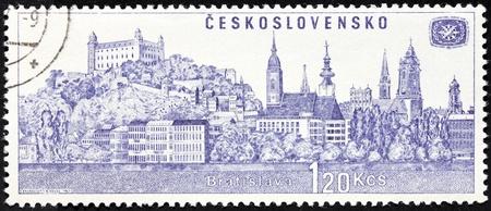 CZECHOSLOVAKIA - CIRCA 1967: a stamp printed by Czechoslovakia, shows view of Bratislava, circa 1967.