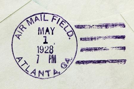 postmark: USA - CIRCA 1928: Vintage cancellation air mail postmark from Atlanta, state of Georgia on an old postal cover, circa 1928.
