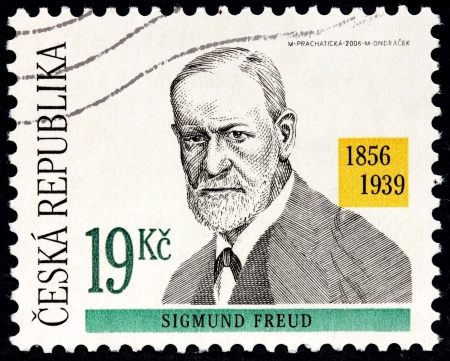 psychoanalysis: CZECHOSLOVAKIA - CIRCA 2006: A stamp printed by CZECHOSLOVAKIA shows image portrait of Austrian neurologist Sigmund Freud who became known as the founding father of psychoanalysis, circa 2006.  Editorial