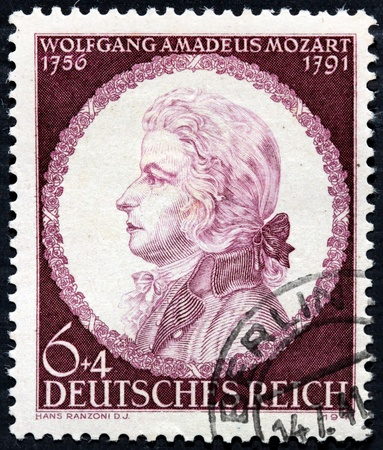 amadeus mozart: GERMANY - CIRCA 1941: a stamp printed by GERMANY shows image portrait of famous Austrian composer Wolfgang Amadeus Mozart, circa 1941.