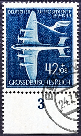 GERMANY - circa 1944: stamp printed by Germany, shows German old airplane, circa 1944.