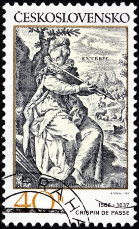 passe: CZECHOSLOVAKIA - CIRCA 1982: A stamp printed by Czechoslovakia shows muse Euterpe playing a flute - engraving by Dutch engraver Crispijn de Passe (1565-1637), circa 1982. Editorial