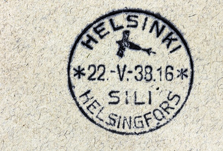 cancellation: FINLAND - CIRCA 1938: Vintage cancellation air mail postmark from Helsinki on an old postal cover, circa 1938. Editorial