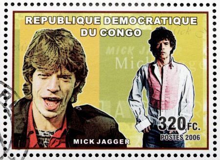 english famous: CONGO - CIRCA 2006: A postage stamp printed by CONGO shows image portrait of  famous English musician, composer, singer and songwriter Mick Jagger, circa 2006.