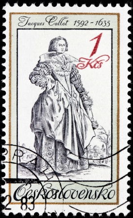 printmaker: CZECHOSLOVAKIA - CIRCA 1983: a stamp printed by Czechoslovakia shows Lady with Lace Collar - engraving by baroque printmaker and draftsman  Jacques Callot, circa 1983.