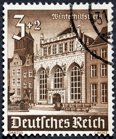GERMANY - CIRCA 1940: A stamp printed by Germany shows view of the Artus Court (Junkerhof) in Gdansk (Danzig) town, circa 1940.