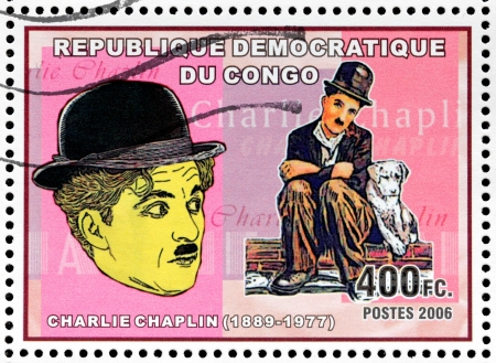 filmmaker: CONGO - CIRCA 2006: A postage stamp printed by CONGO shows image portrait of famous English comic actor and filmmaker Sir Charles Spencer Charlie Chaplin, circa 2006. Editorial