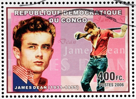 CONGO - CIRCA 2006: A postage stamp printed by CONGO shows image portrait of famous American actor James Dean, circa 2006 Editorial