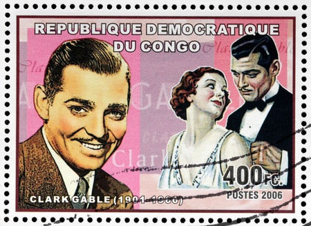 CONGO - CIRCA 2006: A postage stamp printed by CONGO shows image portrait of famous American film actor Clark Gable, circa 2006 Editorial