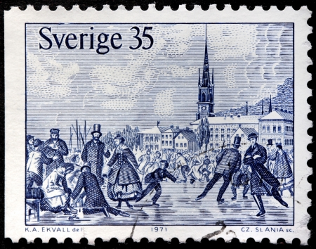 SWEDEN - CIRCA 1971: a stamp printed by SWEDEN shows Skaters on Malar bay in Stockholm 1867. Engraving after woodcut by Knut Alfred Ekwall, circa 1971.