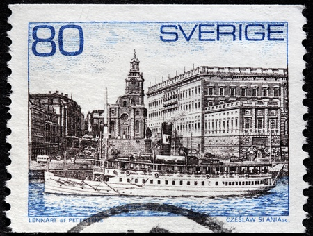 SWEDEN - CIRCA 1971: a stamp printed by Sweden shows old steamer against Royal Palace in Stockholm, circa 1971.