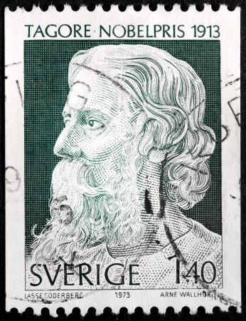 tagore: SWEDEN - CIRCA 1973: a stamp printed by SWEDEN shows image portrait of Rabindranath Tagore, circa 1973.