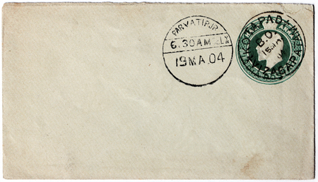 dominions: INDIA - CIRCA 1904  A stamp printed by INDIA shows image portrait of King of the United Kingdom and the British Dominions and Emperor of India Edward VII, circa 1904