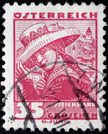 steiermark: AUSTRIA - CIRCA 1934: A stamp printed by AUSTRIA shows Woman from Styria (Steiermark). Traditional folk costume, circa 1934. Editorial
