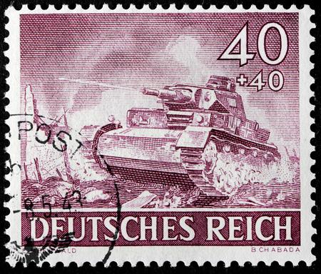 GERMANY - circa 1943: stamp printed by Germany, shows German short-barreled medium tank, circa 1943.
