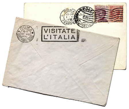 ITALY - CIRCA 1929: a set of two stamps printed by ITALY shows image portrait of King Victor Emmanuel III, circa 1929.