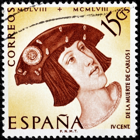 SPAIN - CIRCA 1958: a stamp printed by SPAIN shows image portrait of young Charles V, Holy Roman Emperor, Carlos I of Spain, 400th Anniversary of the Death of Charles V, circa 1958.