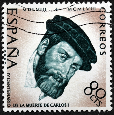 carlos: SPAIN - CIRCA 1958: a stamp printed by SPAIN shows image portrait of Charles V, Holy Roman Emperor, Carlos I of Spain, 400th Anniversary of the Death of Charles V, circa 1958. Editorial