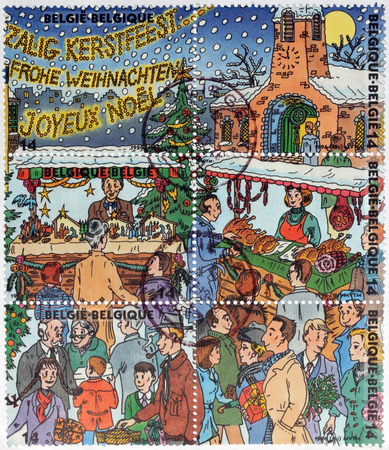 BELGIUM - CIRCA 1996: a set of six stamps printed by BELGIUM shows view of Christmas Market, circa 1996.