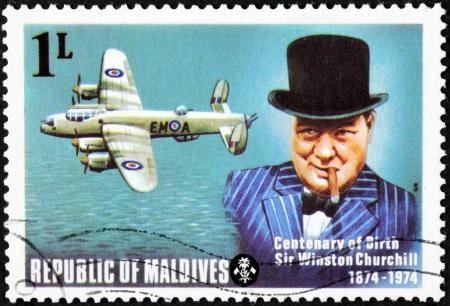 ww2: MALDIVE ISLANDS - CIRCA 1974  a stamp printed by Maldive Islands shows image portrait of famous British politician, Prime Minister of the United Kingdom Sir Winston Churchill, circa 1974 Editorial
