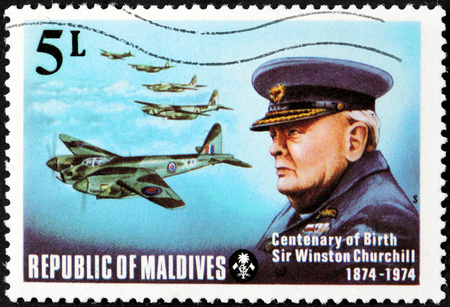 MALDIVE ISLANDS - CIRCA 1974: a stamp printed by Maldive Islands shows image portrait of famous British politician, Prime Minister of the United Kingdom Sir Winston Churchill, circa 1974