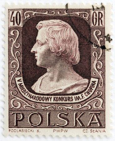 frederic chopin: POLAND - CIRCA 1955: A stamp printed by POLAND shows image portrait of famous Polish musician and composer Frederic Chopin. 5th International Competition of Chopins Music, circa 1955.
