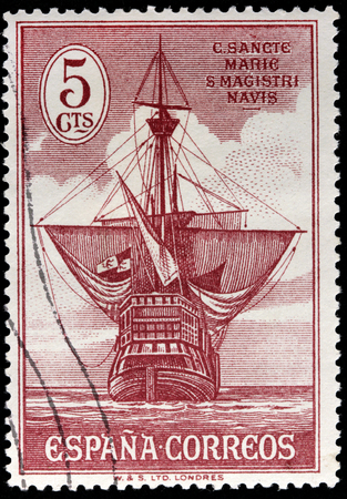 SPAIN - CIRCA 1930: a stamp printed by SPAIN shows Christopher Columbus flagship Santa Maria, circa 1930.