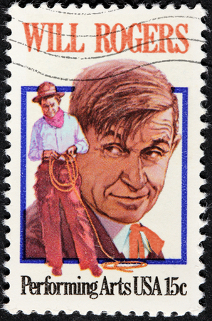 william penn: USA - CIRCA 1979: A stamp printed by USA shows image portrait of William Penn Adair Will Rogers, circa 1979