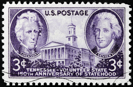 governor: USA - CIRCA 1946: A stamp printed by USA shows image portraits of President Andrew Jackson and Governor John Sevier. Tennessee Volunteer State 150th Anniversary of Statehood, circa1946.