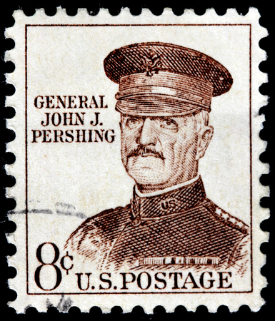 pershing: USA - CIRCA 1960: A stamp printed by United States of America shows image portrait of general John J. Pershing, U.S. Army officer  who led American Expeditionary Forces in World War I, circa 1960