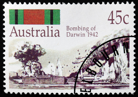 bombing: AUSTRALIA - CIRCA 1992: A stamp printed by AUSTRALIA shows Bombing of Darwin in 1942, WWII, circa 1992 Editorial