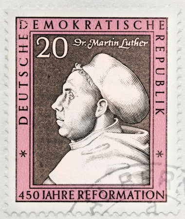 GERMANY- CIRCA 1967: A stamp printed by Germany, shows image portrait of Martin Luther by Lucas Cranach, circa 1967.