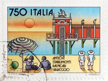 viareggio: ITALY - CIRCA 1992: A stamp printed by ITALY shows view of ancient seaside health resort in Viareggio, circa 1992.
