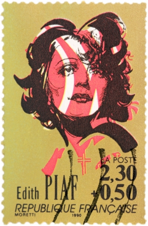 FRANCE - CIRCA 1990: A stamp printed by FRANCE shows image portrait of a famous French singer Edith Piaf, circa 1990.