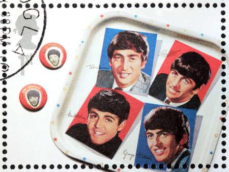 memorabilia: GREAT BRITAIN - CIRCA 2007: A stamp printed by Great Britain shows the Beatles memorabilia, circa 2007.