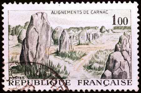 megaliths: FRANCE - CIRCA 1965: A stamp printed by FRANCE shows Carnac Stones (Alignements de Carnac), circa 1965