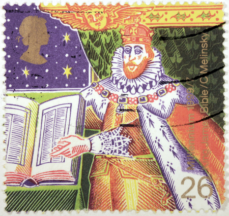 king james: UNITED KINGDOM - CIRCA 1999  a stamp printed by UNITED KINGDOM shows image portrait of King James I with The Bible  Authorised Version of Bible , circa 1999  Editorial