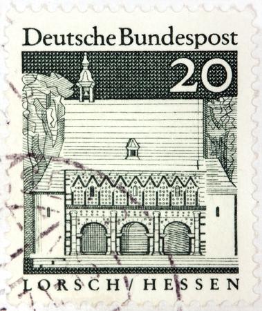 hessen: GERMANY - CIRCA 1966  A stamp printed by GERMANY shows Carolingian gatehall, Lorsch, Hessen, circa 1966