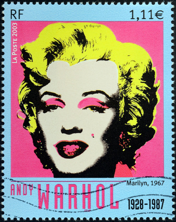 FRANCE - CIRCA 2003  A stamp printed by FRANCE shows image portrait of Merilyn Monroe  Marilyn, 1967  by American artist Andy Warhol, circa 2003