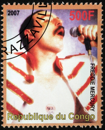 vocalist: CONGO - CIRCA 2007  A stamp printed by CONGO shows portrait of English musician, singer and songwriter Freddie Mercury, best known as the lead vocalist and lyricist of the rock band Queen, circa 2007