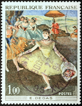 FRANCE - CIRCA 1970  A stamp printed by FRANCE shows picture Dancer With Bouquet  Danseuse au bouquet, saluant sur la scene  by French artist Edgar Degas, circa 1970