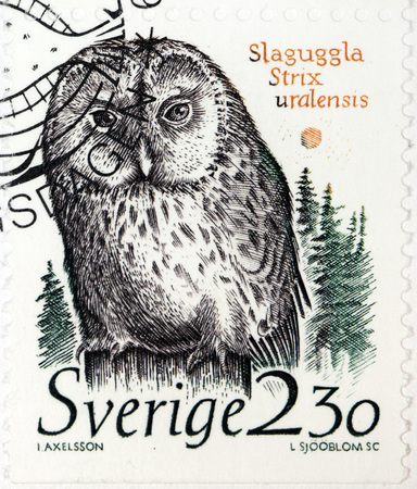 ural owl: SWEDEN - CIRCA 1989: a stamp printed by SWEDEN shows The Ural Owl (Strix uralensis), circa 1989. Editorial