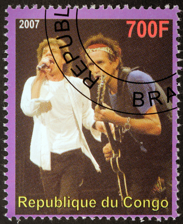CONGO - CIRCA 2007: A postage stamp printed by CONGO shows image portrait of  famous English musicians Mick Jagger and Keith Richards, circa 2007. Editorial