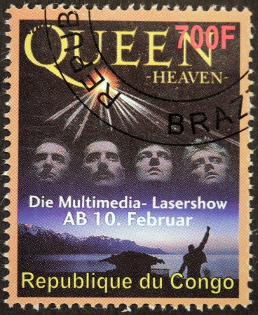 english famous: CONGO - CIRCA 2007: A stamp printed by CONGO shows famous English rock band Queen, circa 2007