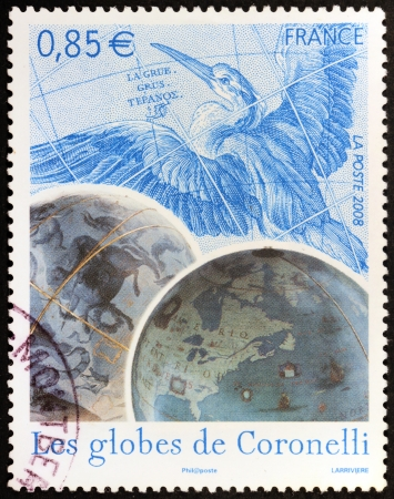 FRANCE - CIRCA 2008: A stamp printed by FRANCE shows Celestial and Terrestrial Globes Vincenzo Coronelli made for Louis XIV (Les globes de Coronelli), circa 2008