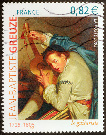 FRANCE - CIRCA 2005: A stamp printed by FRANCE shows picture The Guitarist (Le Guitariste) by French artist Jean-Baptiste Greuze, circa 2005 Editorial
