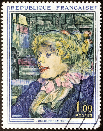 english girl: FRANCE - CIRCA 1965: A stamp printed by FRANCE shows picture The English Girl at the Star in Le Havre by French painter Henri de Toulouse-Lautrec, circa 1965 Editorial