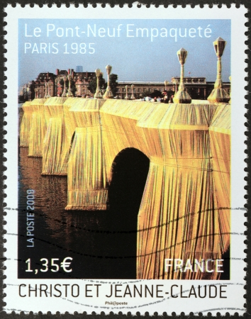 FRANCE - CIRCA 2009: A stamp printed by FRANCE shows The Pont Neuf Wrapped by Christo and Jeanne-Claude, Paris 1985 (Le Pont-Neuf Empaquete), circa 2009 Editorial