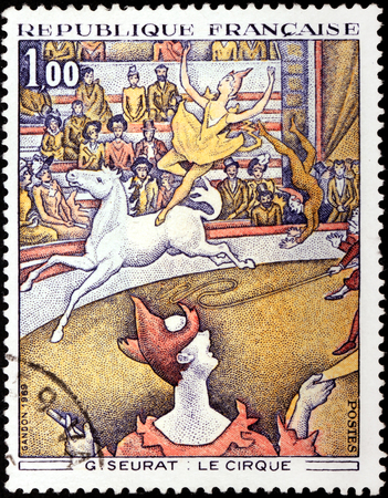 FRANCE - CIRCA 1969: A stamp printed by FRANCE shows picture The Circus (Le Cirque)  by French Post-Impressionist painter Georges-Pierre Seurat, circa 1969