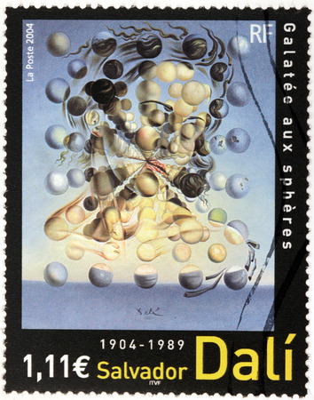 FRANCE - CIRCA 2004: A stamp printed by FRANCE shows famous picture Galatea of the Spheres  (Galatee aux Spheres) by prominent Spanish surrealist painter Salvador Dali, circa 2004 Editorial